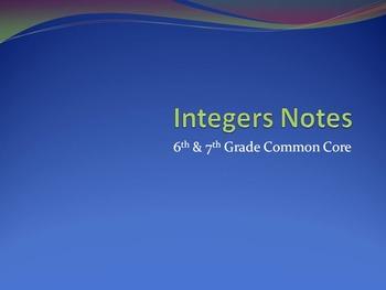 Integers Notes - 7th Grade Common Core