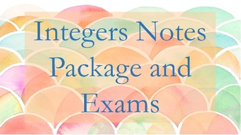 Integers Notes Package and Exam (Order of Operations, numb