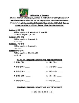 Integers Notes and Practice (add, subtract, multiply)
