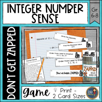 Integers Number Sense Don't Get ZAPPED Math Game