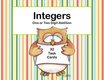 Integers-One or Two Digit Addition-Grades 6-8