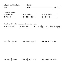 Integers, One-step Equations, and Two-Step Equations Quiz
