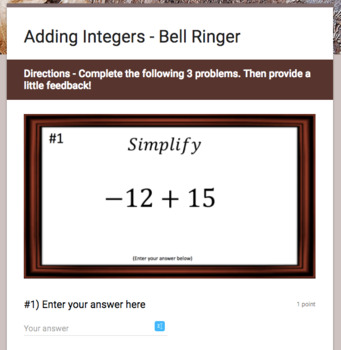 Integers Operations – Google Bell Ringer Bundle with Student Feedback Option