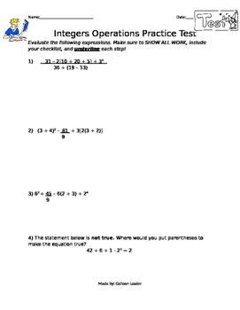 Integers Operations Practice Test