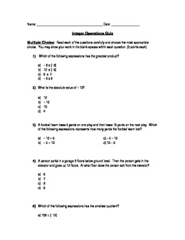 Integers Operations Quiz