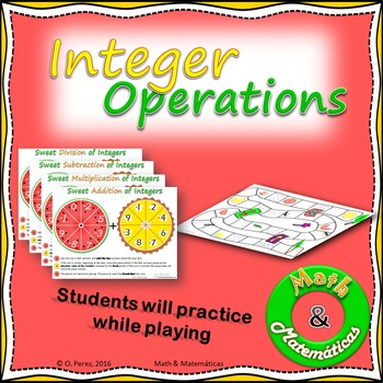 Integer Operations Spinners Practice, Add, subtract, multi