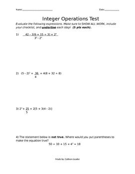Integers Operations Test