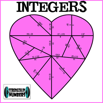 Integers Operations Valentine's Day Heart Puzzle for Display