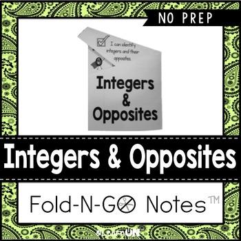 Integers & Opposites Fold-N-Go Notes™