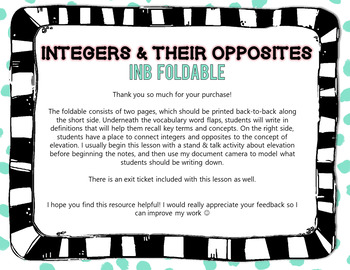 Integers & Opposites - Interactive Notebook (INB) Foldable Notes & Exit Ticket