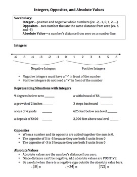 Integers (Opposites, absolute values, situations): Worksheets, Notes, Assessment