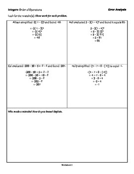 Integers: Order of Operations - Unit Activities