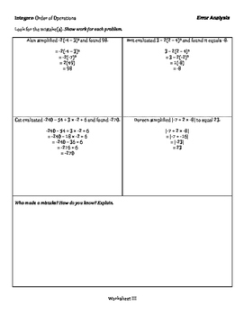 Integers: Order of Operations - Error Analysis - 3 Tiers