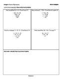 Integers: Order of Operations - Error Analysis - 3 Tiers