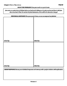Integers: Order of Operations - Group Activities