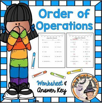 Integers Order of Operations PEMDAS Practice Worksheet Homework