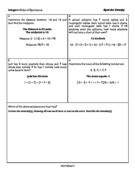 Integers: Order of Operations - Spot the Error - 3 Tiers