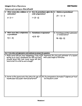 Integers: Order of Operations - Tiered Skill Practice