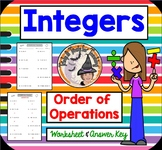 Integers Order of Operations Worksheet with Answer KEY PEMDAS
