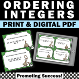 Ordering Integers Task Cards, 6th Grade Math Stations, Integer Games SCOOT