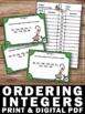 Ordering Integers from Least to Greatest Task Cards 6th 7th Grade
