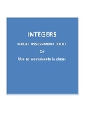 Integers - Packet of 30 Integer Assessments