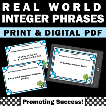 Real World Integer Phrases, Integers Games, Integers Task Cards Scavenger Hunt