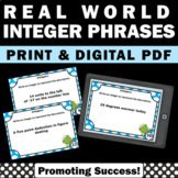 Real World Integer Task Cards, 6th Grade Math Centers, Integers Games SCOOT