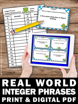 Real World Integer Problems, 6th Grade Math Review, Integers Task Cards