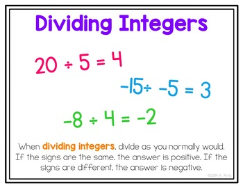 Integers Posters and Interactive Notebook INB Set