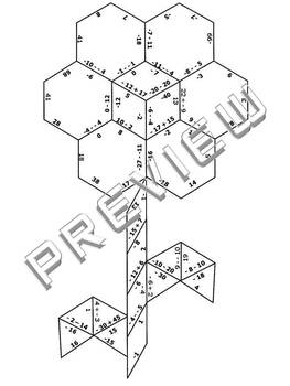 Integers Practice Puzzle Cut & Paste Activity Worksheet