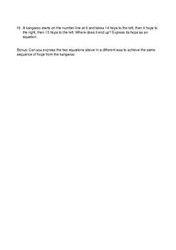 Integers Pre-Test (AusVELS level 5 to 8)