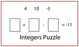 Integers Puzzle with Adding, Subtracting, Multiplying and