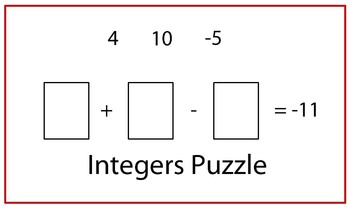 Integers Puzzle with Adding, Subtracting Negatives, Multiplying, Dividing