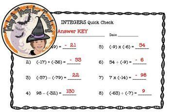 Integers Quick Check Adding Subtracting Multiplying Dividing with Answer KEY