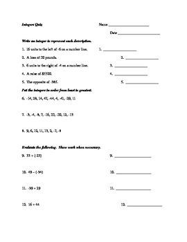 Integers Quiz
