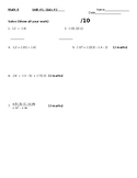 Integers Quiz #2 - order of operations - word document
