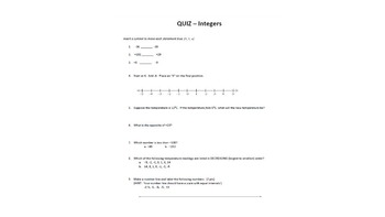 Integers Quiz (Comparing and Ordering, Opposites)