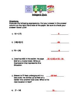Integers Quiz (7.NS.3)