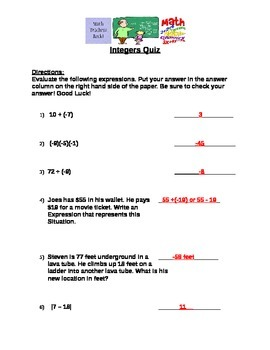 Integers Quiz (7.NS.1)