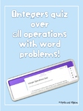Integers Quiz in Google Forms: All operations