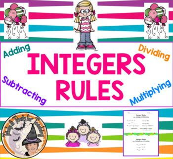 Integers RULES for Adding Subtracting Multiplying Dividing Integer Notes Handout