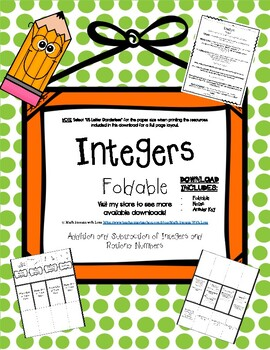Integers, Rational Numbers, Additive Inverse, and Absolute Value Foldable