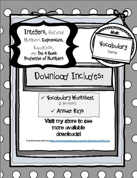 Integers, Rational Numbers, Basic Properties, and More! (6th-8th Grade)
