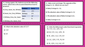 Integers, Rational Numbers, and Whole Numbers TEKS 6.2A, 6.2B, 6.2C, and 6.2D