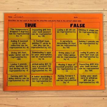 Integers Real Life SituationsTrue or False Activity