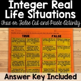 Integers Real Life Situations True or False Activity