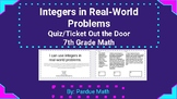 Integers Real-World Problems Ticket Out the Door/Quiz +-x/