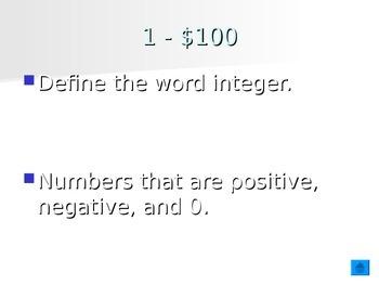 Integers Review Jeopardy