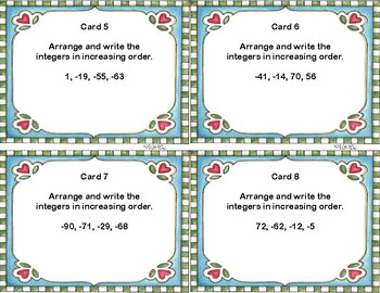Integers-Rewriting the Integers in Order -Task Cards and Scoot